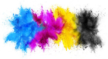 Colorful CMYK Cyan Magenta Yellow Key Holi Paint Color Powder Explosion Print Concept Isolated White Background