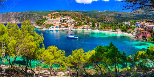picturesque colorful village Assos in Kefalonia , Ionian islands of Greece