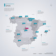 Spain vector map with infographic elements, pointer marks.