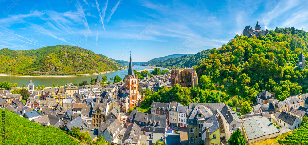 Fototapety, obrazy: Aerial view of Bacharach from Postenturm, Germany
