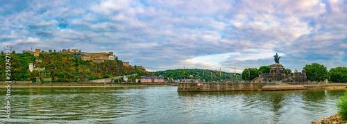 Foto auf Gartenposter Himmelblau Memorial of German Unity and Ehrenbreitstein fortress in Koblenz, Germany