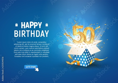 Fotografia  50 th years anniversary banner with open burst gift box