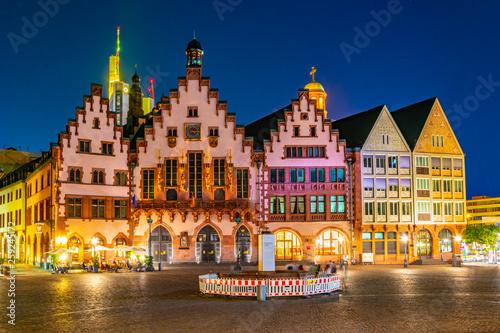 Fototapeta  Night view of Romerberg square in Frankfurt, Germany.
