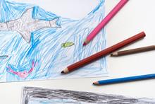 Children Drawing In Progress