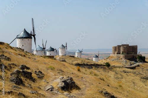 Fototapety, obrazy: Europe, Spain, Consuegra windmills and castle