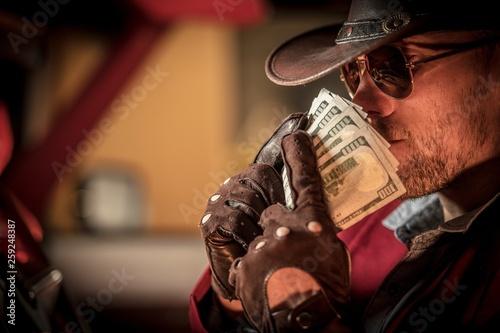 Stampa su Tela  Cowboy Money Sniffing