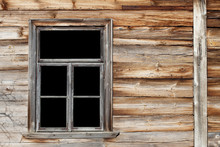 Rustic Window In Wooden Village Cottage House. Grunge Brown Wood Wall.