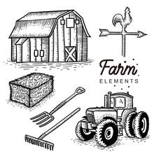 Farm Elements Hand Drawn