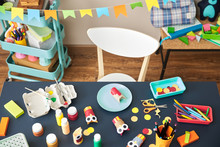 Kid's Table With Tools For Painting.