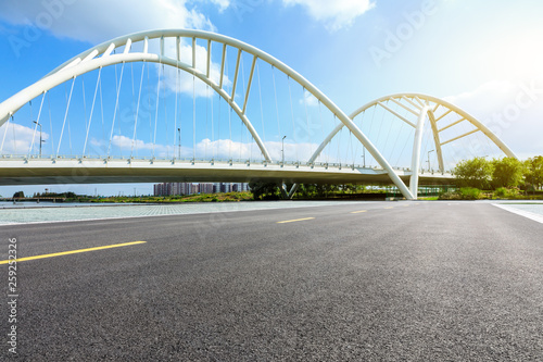 Empty asphalt road and bridge construction in shanghai Canvas Print