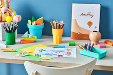 Kid's Painting On The Desk Wit...