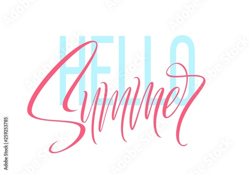Obraz na plátně  Hand drawn lettering Hello Summer. Vector illustration