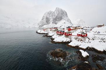 Krajobraz Norwegii lofotens - hamnoy