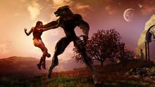 Concept Of Giant Werewolf Atta...