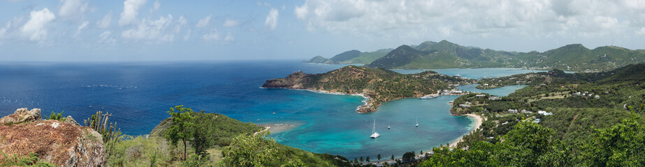 Panorama of English and Falmouth Harbours in Antigua