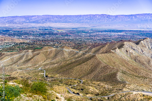 Obraz Aerial view of Coachella Valley and the road leading to it, California - fototapety do salonu