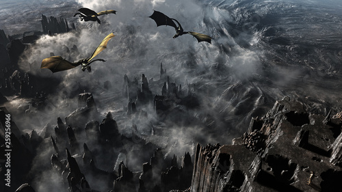 Obrazy smoki epic-concept-landscape-with-majestic-dragons-flying-over-during-sunset