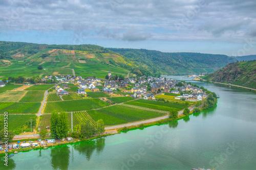 Poster Scandinavie Aerial view of Ellenz-Poltersdorf from Burg Metternich, Germany