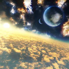 majestic celestial illustration above the clouds with epic sunset