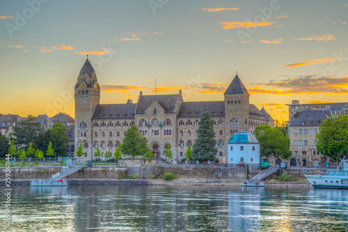 Fotografie, Obraz  Sunset view of historical building of Prussian government in Koblenz, Germany