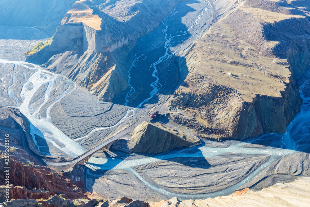 Fototapety, obrazy: canyon landscape of river valley closeup