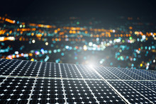Texture Of Photovoltaic Panels Solar Panel With City Bokeh Light Night Background, Alternative Energy Concept