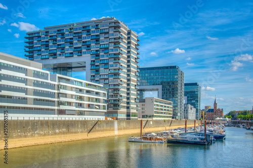 Fotomural Kranhaus building complex on riverside of Rhein in Cologne, Germany