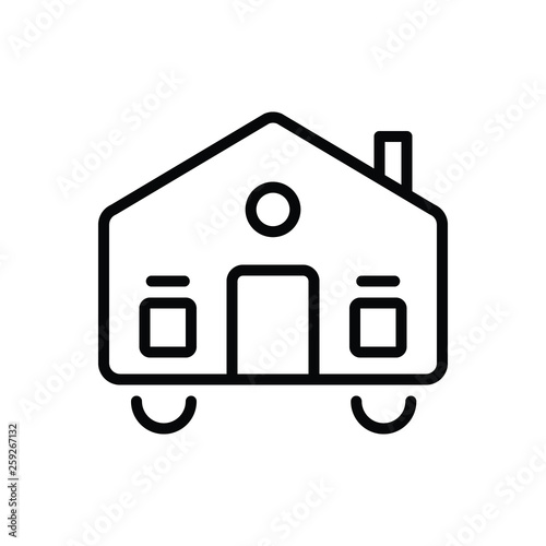 Photo Black line icon for mobilhome