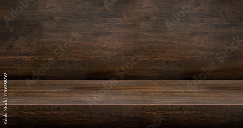 Obraz 3D dark wood table studio background textured for product display with copy space for display of content design.Banner for advertise product on website.3d rendering - fototapety do salonu