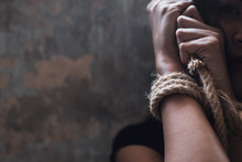 Asian Woman Trafficking, Kidnap Or Abduct. Detainees Was Tied Rope At Arms. She Get Hopeless, Depressed. Detainee Was Detain And Hidden By Human Traffickers. She Detain Alone In Dirty Room Copy Space