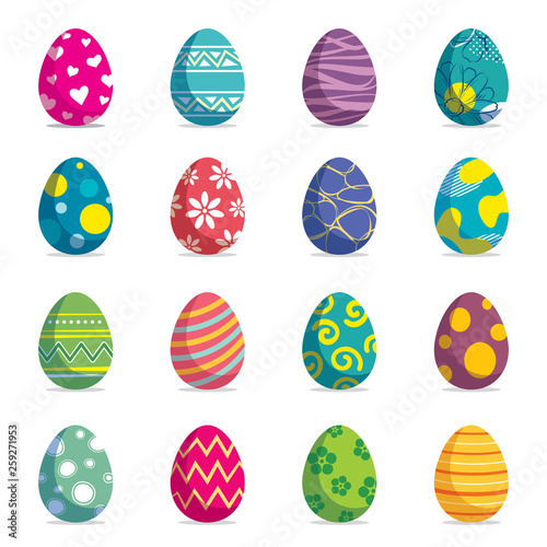Fototapeta Set of easter eggs isolated background. Vector modern new design with different colors and patterns. obraz