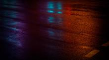 Background Of Wet Asphalt With...