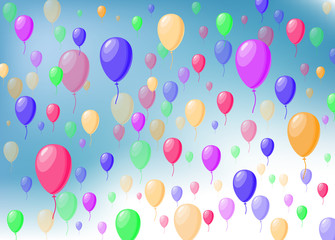 color balloons on the sky. holiday background. simple baby illustration