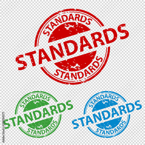 Leinwand Poster Rubber Stamp Seal Standards - Vector Illustration - Isolated On Transparent Back
