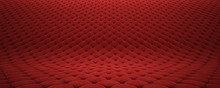 Quilted Fabric Surface. Red Ve...