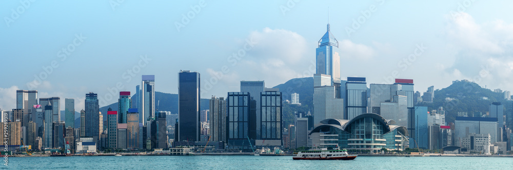 Fototapety, obrazy: landscape scenery of skyscrapers over Victoria bay Hong Kong