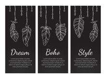 Dream Boho Style Vintage Chalkboard Banners Set With Feathers, Native American Indian Spiritual Symbols Vector Illustration