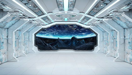 FototapetaWhite blue spaceship futuristic interior with window view on space and planets 3d rendering