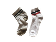 Used And New Soft Socks Isolated On White Background