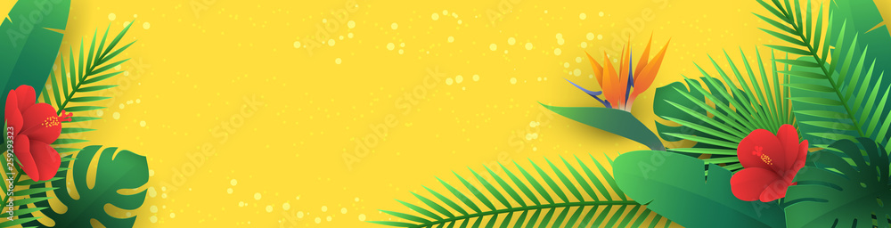 Fototapeta Vector horizontal banner with tropical leaves and flowers in paper cut style (hibiscus, strelitzia, palm, banana leaf, monstera) on yellow background. Origami exotic floral decor for travel newsletter