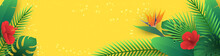 Vector Horizontal Banner With Tropical Leaves And Flowers In Paper Cut Style (hibiscus, Strelitzia, Palm, Banana Leaf, Monstera) On Yellow Background. Origami Exotic Floral Decor For Travel Newsletter