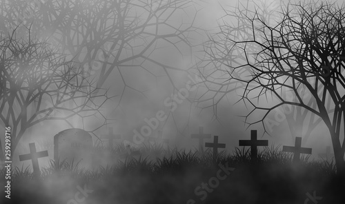 Fotomural Scary cemetery in creepy forest illustration halloween concept design background