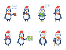 Set Of Christmas Penguin Characters Posing In Different Situations. Cheerful Penguin Holding Mug Of Beer, Map, Magnifier, Reading A Book, Injured, Dizzy. Flat Style Vector Illustration