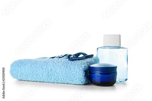 Foto op Plexiglas Spa Set of male shaving accessories on white background