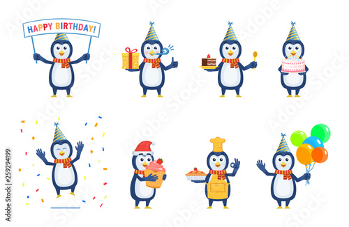 Set Of Cartoon Penguin Characters Posing In Different Situations Cheerful Penguin Holding Birthday Banner Gift Box Cake Pie Cupcake Balloons Birthday Celebration Flat Vector Illustration Buy This Stock Vector And Explore