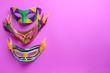canvas print picture - Festive masks on color background
