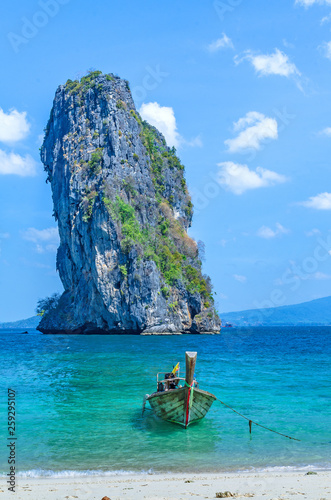 Wall Murals Green coral Boat with tropical beach Andaman Sea ati Krabi Thailand.