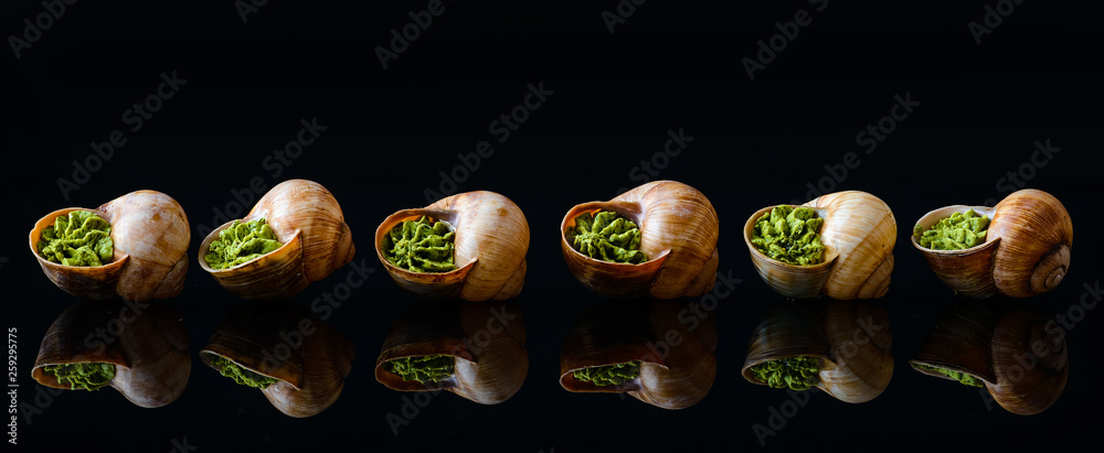 Fototapety, obrazy: French and Italian cuisine. Baked snails. On a wooden background. Top view. Free space.