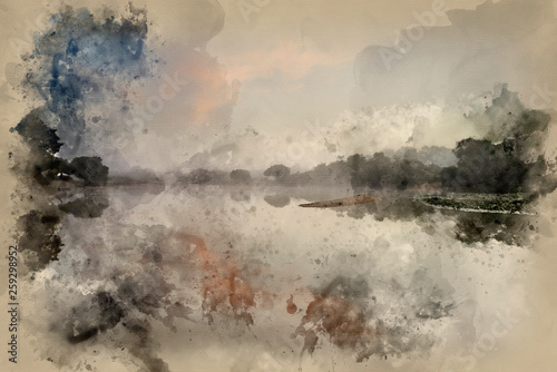 фотография  Watercolor painting of Beautiful dawn sunrise landscape over misty lake in Summe