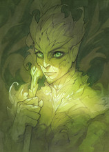 Green Fantasy Portrait Illustration Of A Dryad Character With Big Glowing Ice And Face Covered In Leaves And  Plants